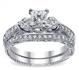 1 Carat Princess cut  Vintage Diamond Bridal Set 10K White Gold