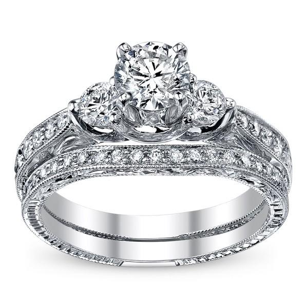 Closeout Sale Enthralling Cheap Diamond Bridal Ring Set 1 Carat Round Cut Di