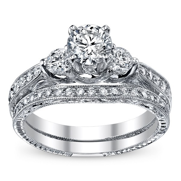 1 carat round cut diamond bridal set 10k white gold - Cheap Diamond Wedding Ring Sets
