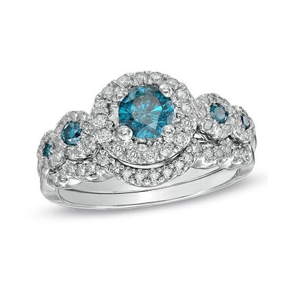 huge 2 carat sapphire and diamond wedding ring set on sale - Blue Diamond Wedding Ring Sets