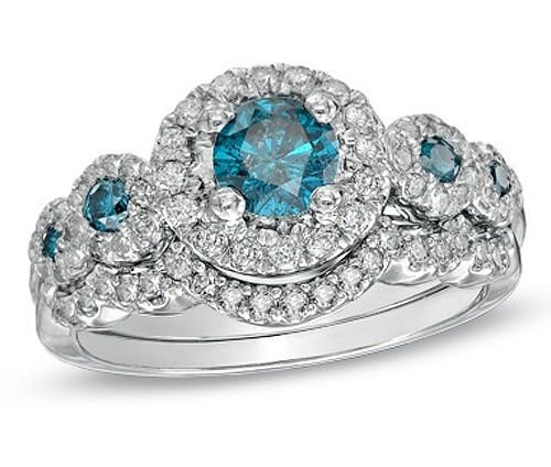 huge 2 carat sapphire and diamond wedding ring set on sale