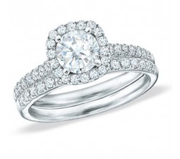 Big 2 Carat Round Diamond Halo Wedding Ring Set in 18k White Gold