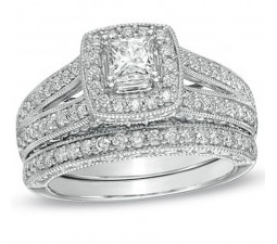 Antique Princess 2 Carat Wedding Ring Set for Her in White Gold