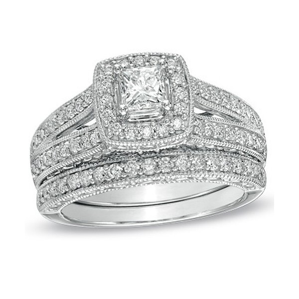 antique princess 2 carat wedding ring set for her in white gold - Princess Cut Wedding Ring Set
