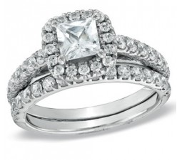2 Carat Princess cut  Halo Wedding Ring Set on Sale 10K White Gold