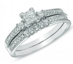 2 Carat   Antique Design Wedding Ring Set for Her 10K White Gold