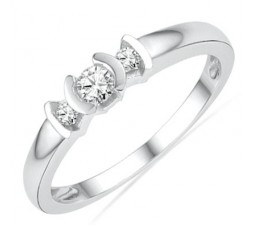 Inexpensive Round Three Stone Diamond Engagement Ring in White Gold