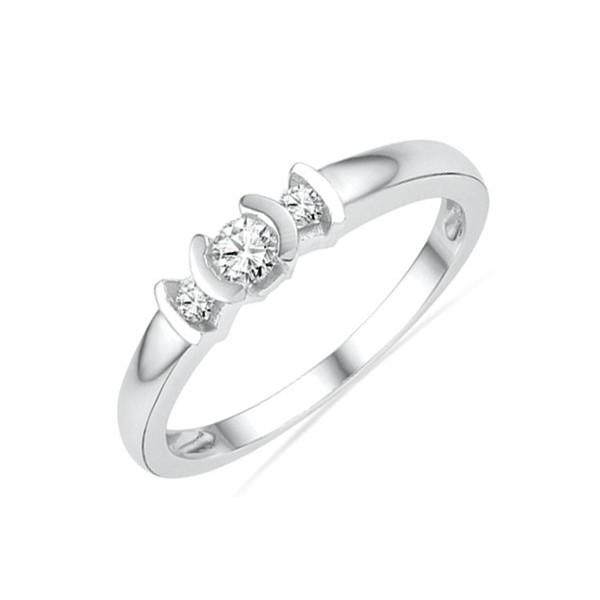 Inexpensive Round Three Stone Diamond Engagement Ring in White Gold
