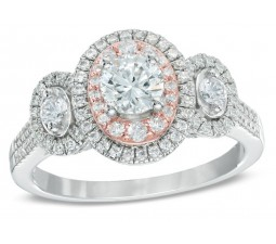 Designer 2 Carat Round Halo Engagement Ring in White and Rose Gold