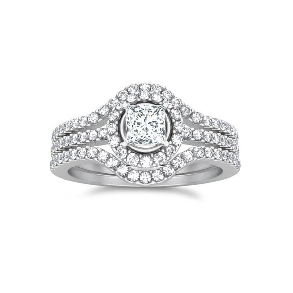 bridal set on - Trio Wedding Rings