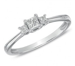 Inexpensive Three Stone Princess Diamond Engagement Ring on Sale in White Gold