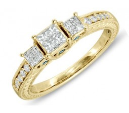 1 Carat Princess three stone Antique Design Engagement Ring in Yellow Gold