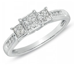 Perfect Inexpensive Three Stone Princess Diamond Engagement Ring in White Gold