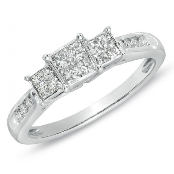 Perfect Inexpensive Three Stone Princess Diamond Engagement Ring in White Gold