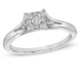 Inexpensive Half Carat Round Halo Diamond Engagement Ring in White Gold