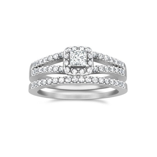 bridal set on - Unique Wedding Ring Set