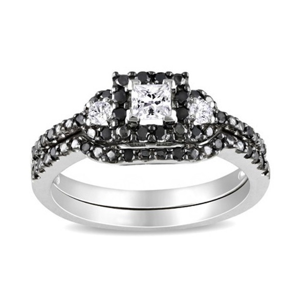 1 carat black and white diamond bridal set in white gold - Black Gold Wedding Ring Sets