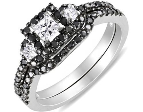 Mesmerizing Black and White Diamond Wedding Ring Set 1 Carat Princess Cut Dia