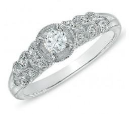 Antique Flower Design 1/2 Carat Round Diamond Engagement Ring