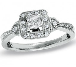 Vintage Half Carat Princess Diamond Engagement Ring on Sale