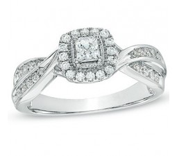 1 Carat Antique Princess Diamond Engagement Ring in White Gold