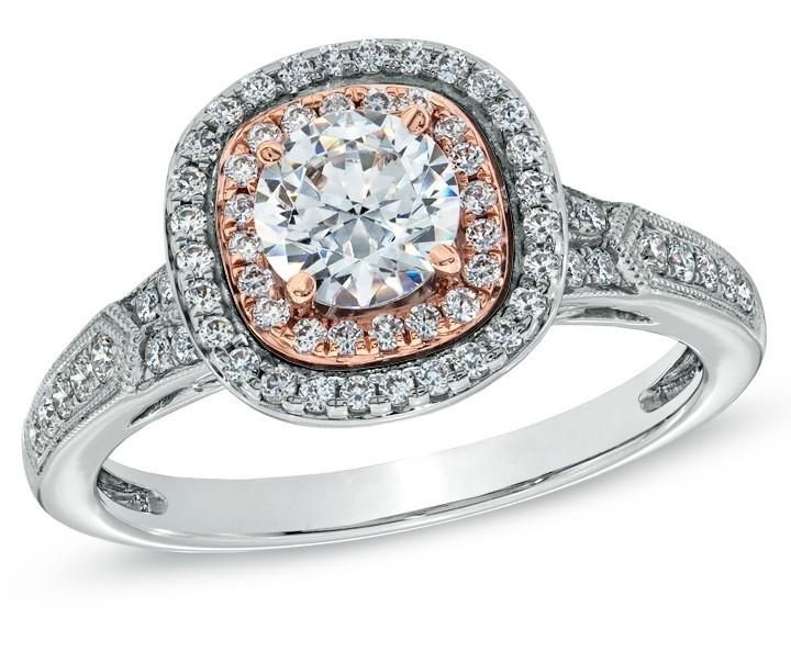designer 1 carat round diamond engagement ring in 18k white and rose gold - Rose Gold And White Gold Wedding Rings