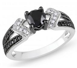 1 Carat Round Cut  Antique Black and White Diamond Engagement Ring 10K White Gold