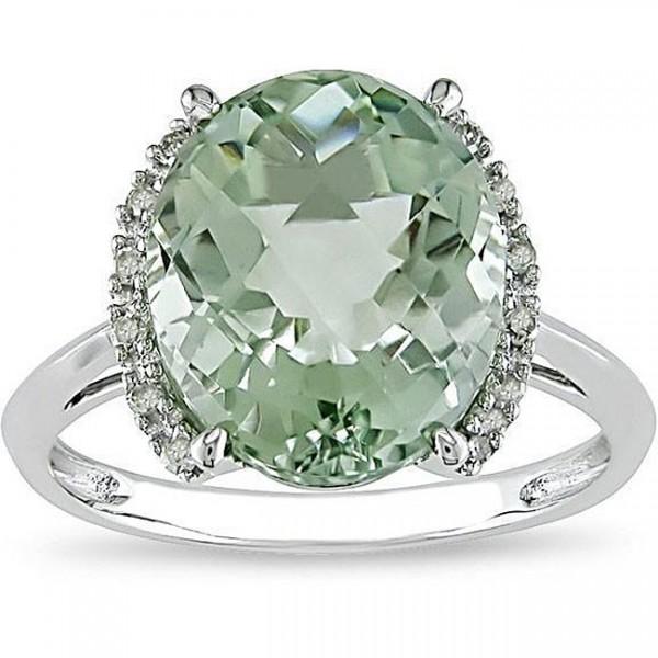 Magnetic Green Topaz Engagement Ring 215 Carat Diamond On White Gold