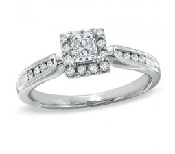 Half Carat Princess Halo Diamond Engagement Ring on Sale