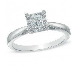 Inexpensive Princess Halo Diamond Engagement Ring