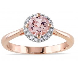 Beautiful 1.20 Carat Round Morganite and Diamond Halo Engagement Ring in Rose Gold