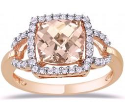 1.50 Carat Cushion Cut Morganite and Diamond Engagement Ring in Rose Gold