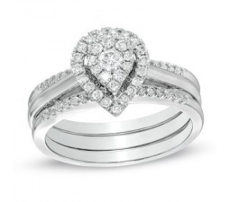 Beautiful 1 Carat Pear Halo Design Trio Ring Set for Her