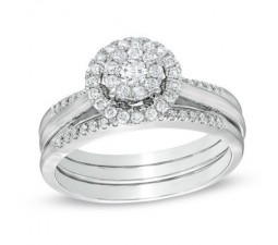 1 Carat Round Halo Trio Wedding Ring Set for Her in White Gold