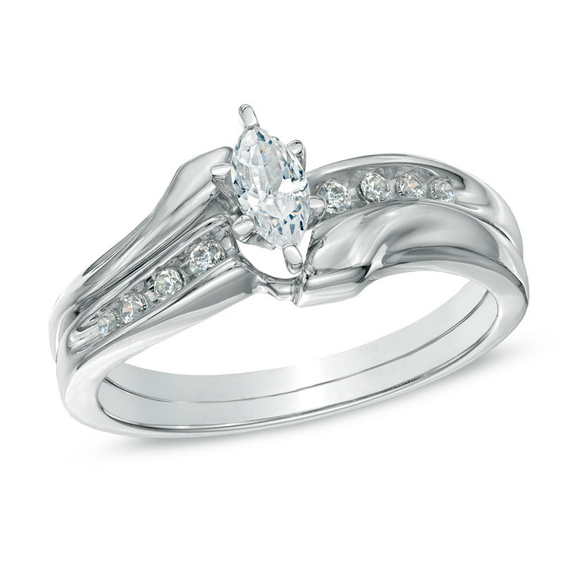 inexpensive half carat marquise wedding ring set in white gold - Marquise Wedding Rings