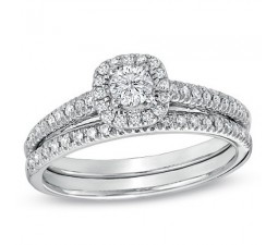 1 Carat Round Halo Diamond Wedding Ring Set in White Gold
