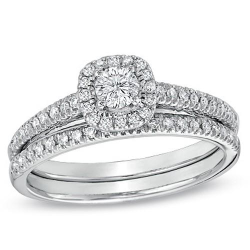 Lustrous Halo Diamond Bridal Set 1 Carat Round Cut Diamond