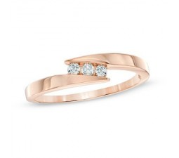 Inexpensive Round Three Stone Diamond Ring in Rose Gold