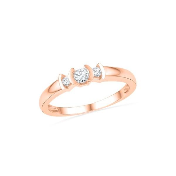 1/3 Carat Round Diamond Three Stone Engagement Ring in Rose Gold