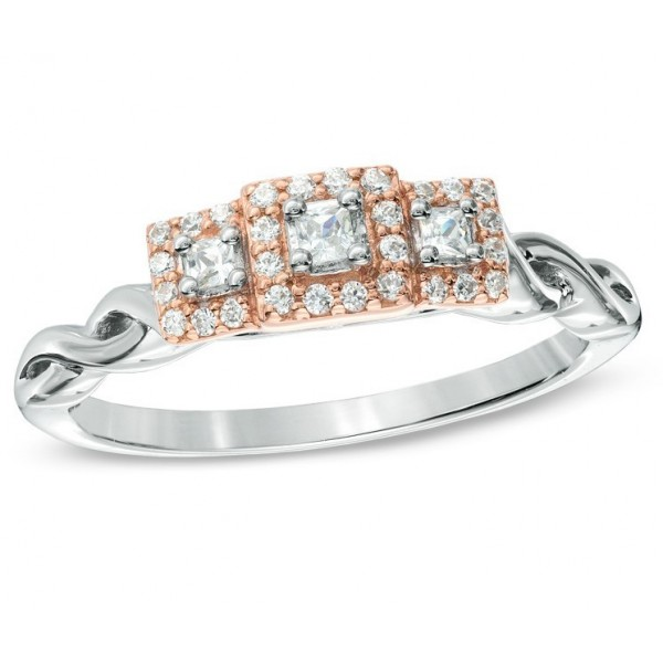 1 Carat Three Stone Princess Halo Engagement Ring in White and Rose Gold