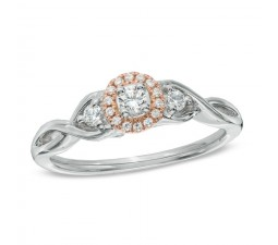 1 Carat Three Stone Round Halo Diamond Engagement Ring in White and Rose Gold