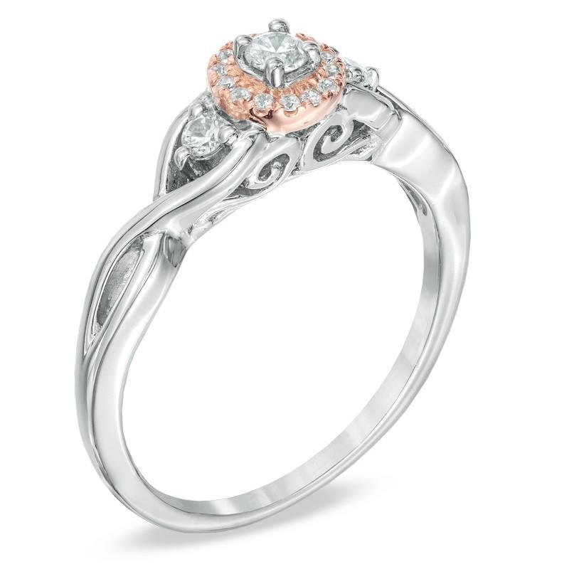 Attractive Three Stone Halo Cheap Three Stone Diamond Engagement Ring 1 Carat