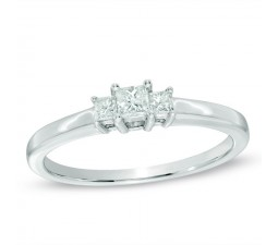 Half Carat Three Stone Princess Diamond Engagement Ring in White Gold