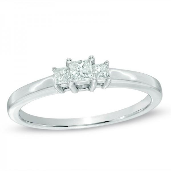 Half Carat Three Stone Princess Diamond Engagement Ring in White Gold