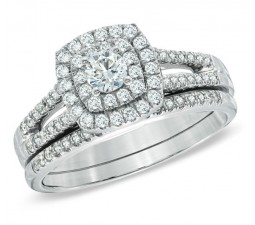 Beautiful 1 Carat Round Twin Halo Wedding Ring Set in White Gold