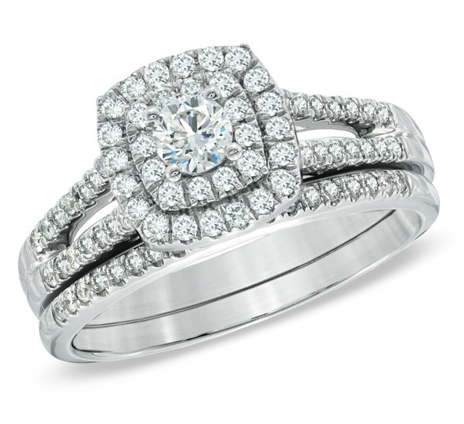 beautiful 1 carat round twin halo wedding ring set in white gold - Cheap Diamond Wedding Rings