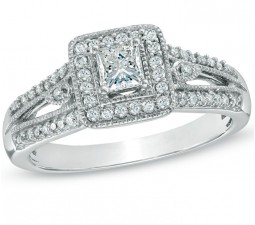 1 Carat Princess cut  Antique Diamond Engagement Ring on Sale 10K White Gold