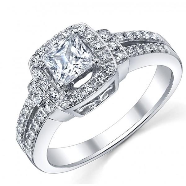Precious Inexpensive Engagement Ring 1 00 Carat Princess Cut Diamond on White