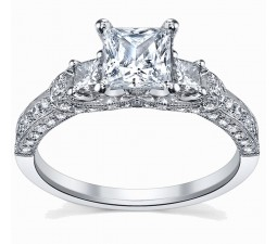 1 Carat Princess cut  Diamond Engagement Ring 10K White Gold