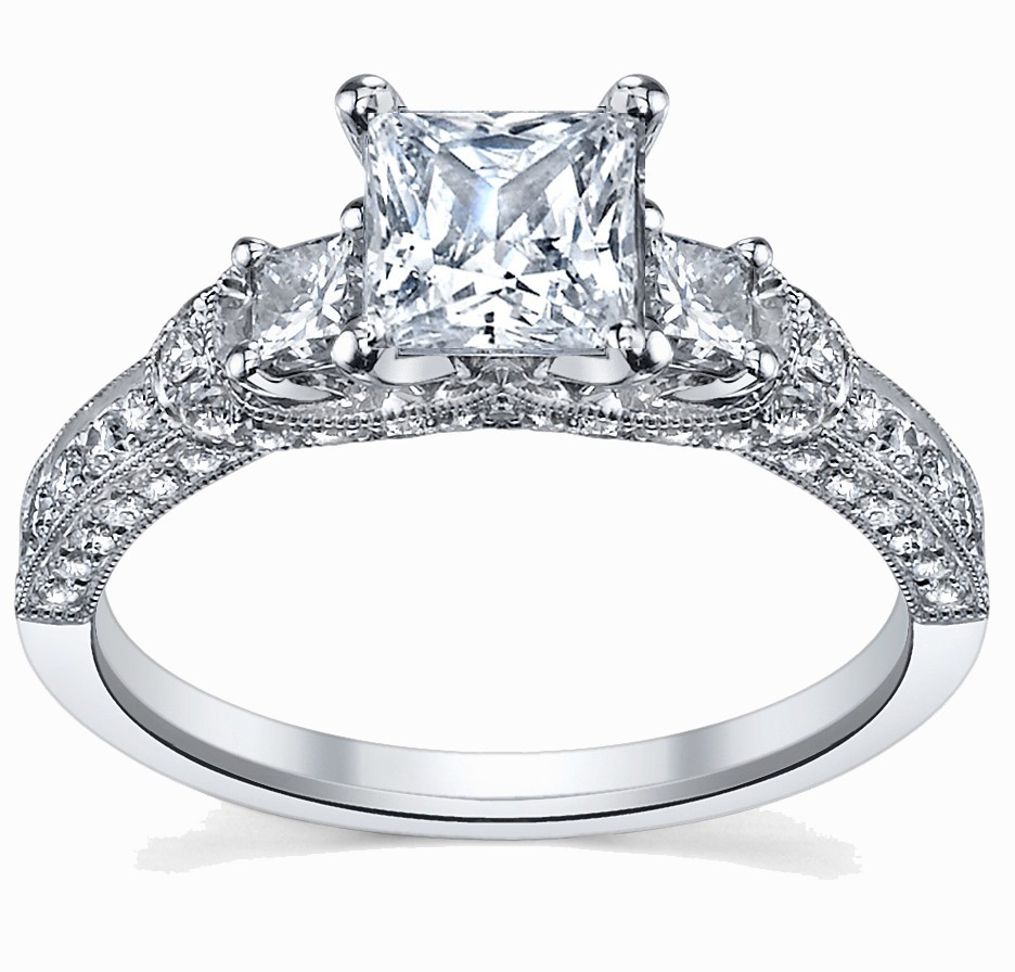 Glamorous Antique Engagement Ring 1 00 Carat Princess Cut Diamond on 10k Whit